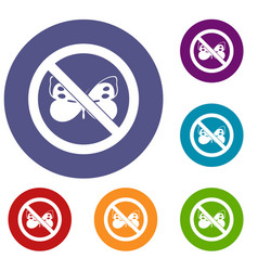 No butterfly sign icons set vector