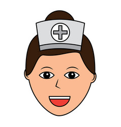 nurse face with cap cross uniform medical vector image