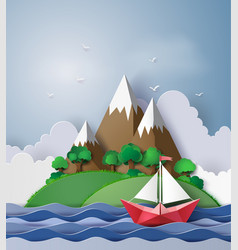 Paper sailing boat float on the sea with island vector