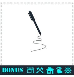 Pen icon flat vector