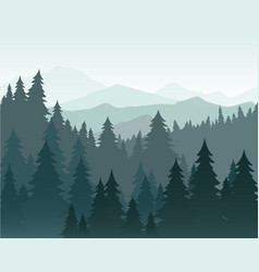 pine forest and mountains vector image