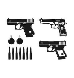 pistol and bullet designs various types vector image