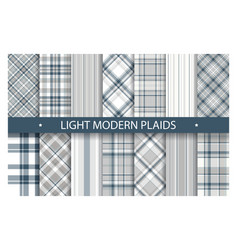 plaid pattern seamless ornate set light color vector image