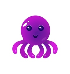 Purple Balloon Octopus Character vector image