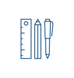 ruler pencil and pen line icon concept ruler vector image