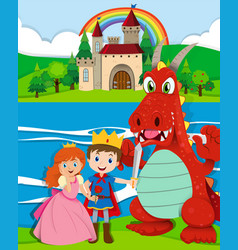 scene with prince and princess by the river vector image