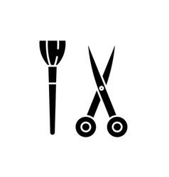 Scissors and visagiste brush black icon vector