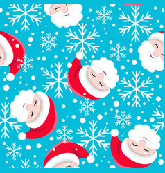 seamless pattern santa claus on a blue background vector image