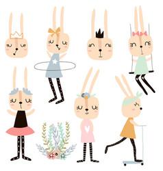 Set cute bunny girl characters rabbit vector