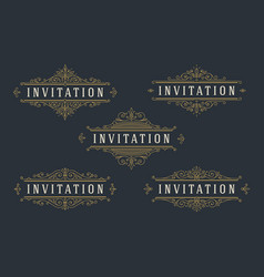 set flourishes and ornamental vintage design vector image