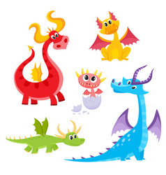 set of funny colorful cartoon dragon characters vector image