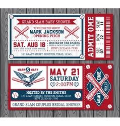 Set vintage baseball tickets vector
