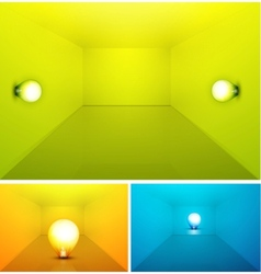 shiny colored empty interioir with light bulb vector image