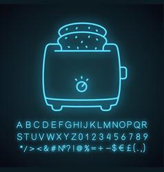 Slice toaster with toast neon light icon vector