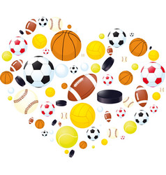 Sporting abstract heart made of balls vector