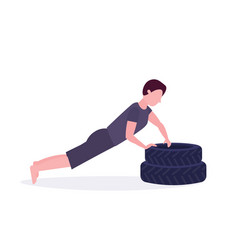 sports man doing push-up exercise on tires vector image