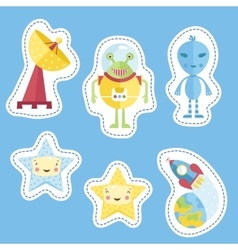 Stickers Collection with Space Cartoons vector image