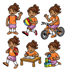 Student girl set in various pose and activity vector