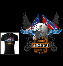 t-shirt design for motorcyclists with eagle head vector image