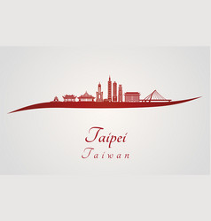 Taipei v2 skyline in red vector