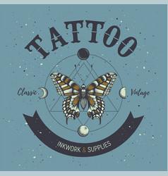 Tattoo studio posterbutterflyastrological symbol vector