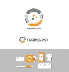 Technology business circle logo vector image