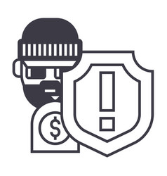 Theft thievery steal line icon sig vector