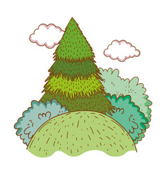tree rural landscape in round icon vector image
