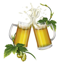two mugs with beer and hops vector image