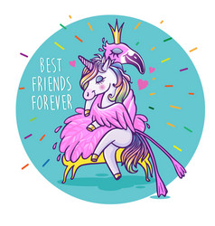 Unicorn with flamingo best friends forever vector