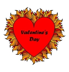 Valentine s day heart with spurts of flame vector image