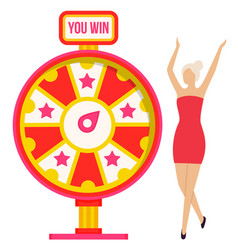 Winner and fortune wheel girl and game luck vector