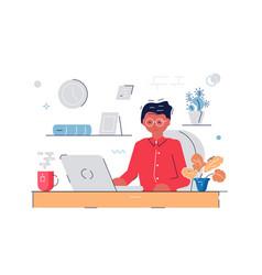 woman working at computer vector image