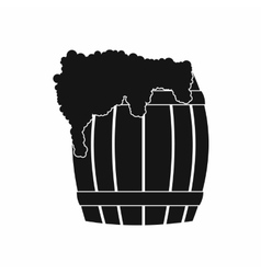 Wooden barrel of beer with froth icon simple style vector