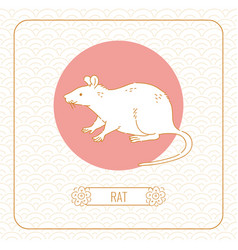 Year rat chinese horoscope line art and vector