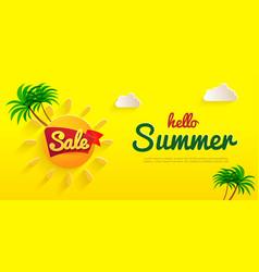 yelloy flyer hello summer banner sale summer vector image