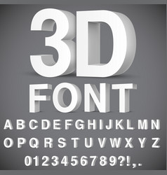 3d alphabet and numbers vector image