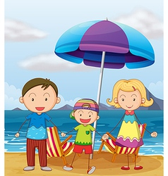 A family at the beach vector image