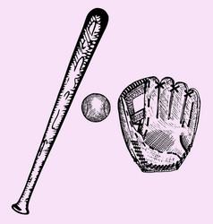baseball bat ball glove vector image