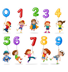 children and balloons one to nine vector image