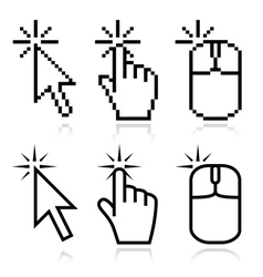 Click here mouse cursors vector image vector image
