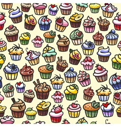 coloful cupcakes seamless background vector image