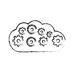 Contour cloud with gears inside icon vector