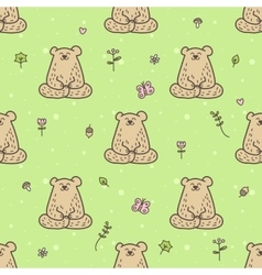 cute yoga bear seamless pattern Meditating vector image