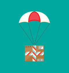 delivery service air shipping parachute with box vector image
