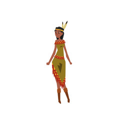native american indian girl character in vector image vector image