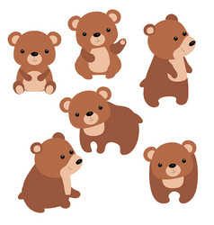 set of cute bears set of cute bears vector image