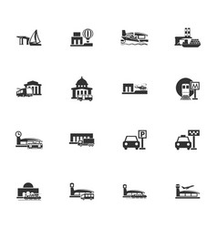 stations of public transport icons set vector image