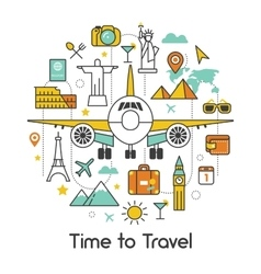Time to travel by plane line art thin icons vector