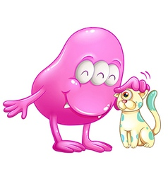 A pink beanie monster with a cat vector image vector image
